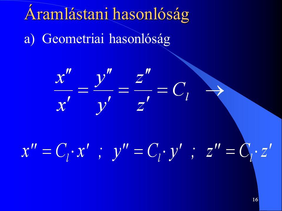 16 Áramlástani hasonlóság a) Geometriai hasonlóság