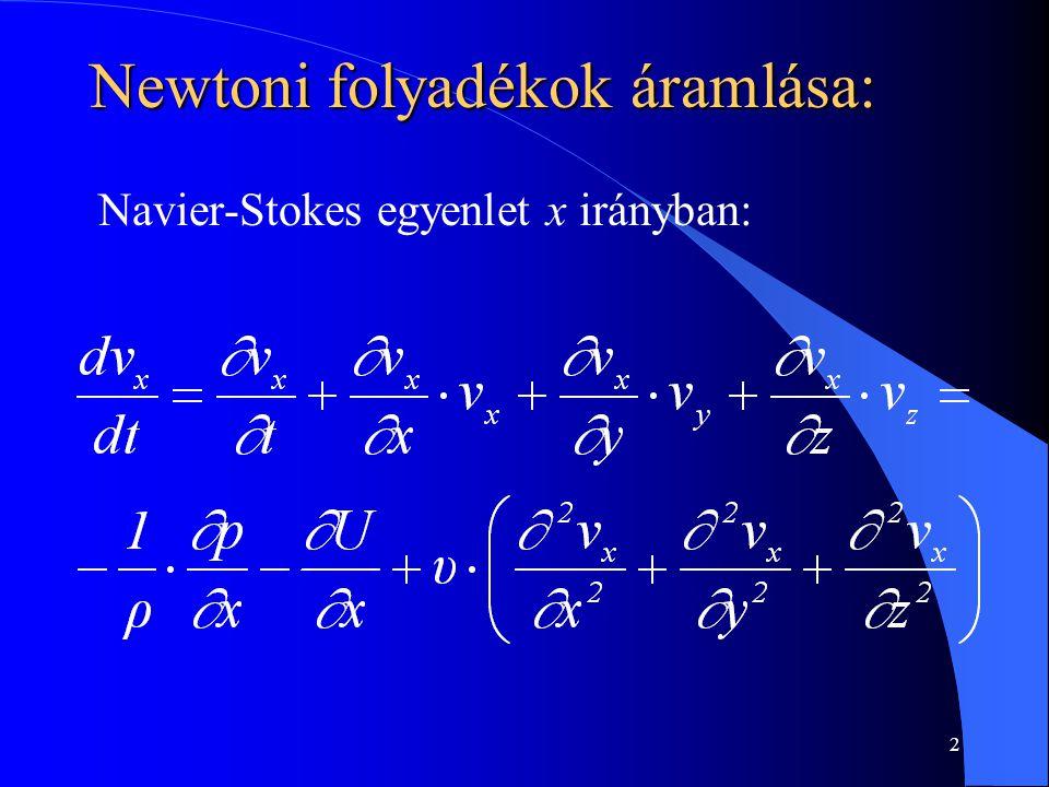 3 Newtoni folyadékok áramlása: A Navier - Stokes egyenlet analitikus megoldása ismeretlen (nem integrálható).