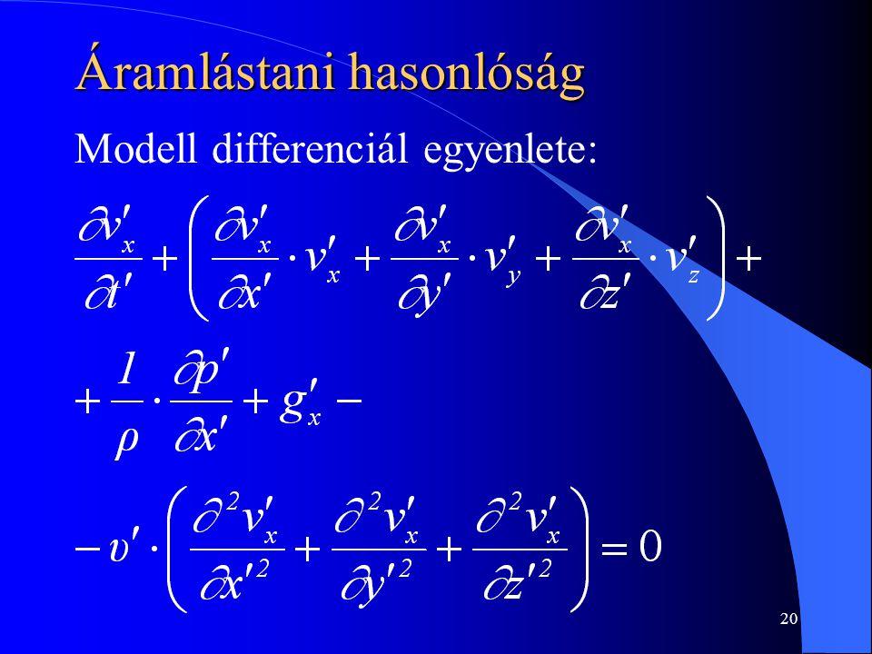 20 Áramlástani hasonlóság Modell differenciál egyenlete: