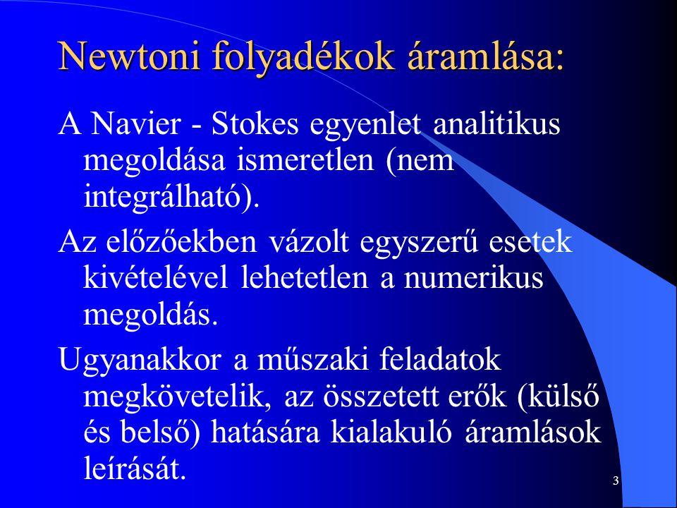 3 Newtoni folyadékok áramlása: A Navier - Stokes egyenlet analitikus megoldása ismeretlen (nem integrálható). Az előzőekben vázolt egyszerű esetek kiv