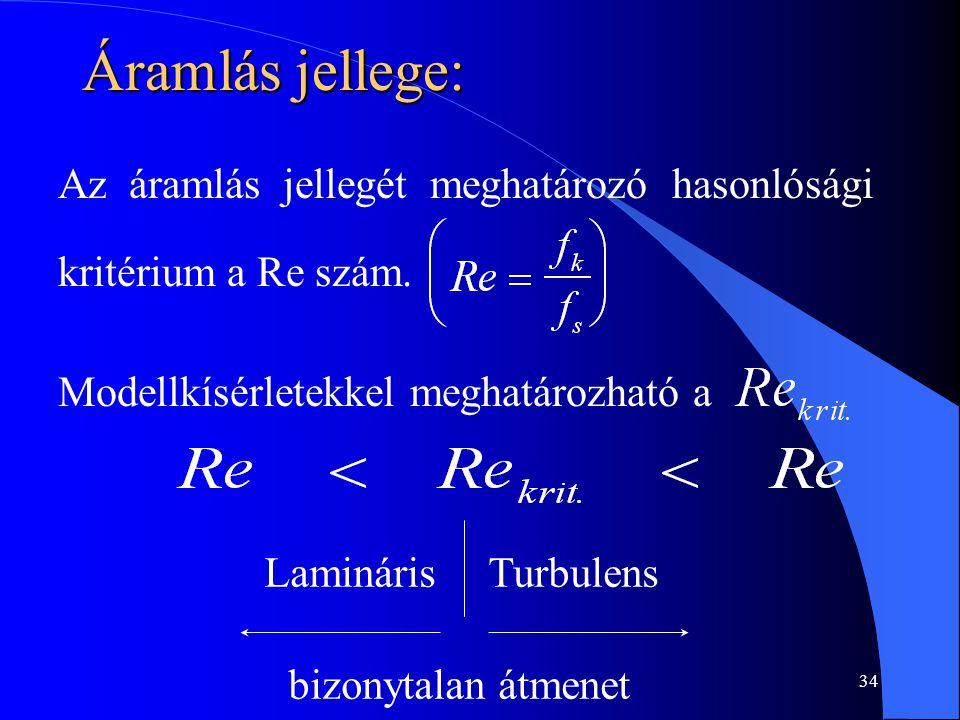34 Áramlás jellege: Az áramlás jellegét meghatározó hasonlósági kritérium a Re szám. Modellkísérletekkel meghatározható a LaminárisTurbulens bizonytal
