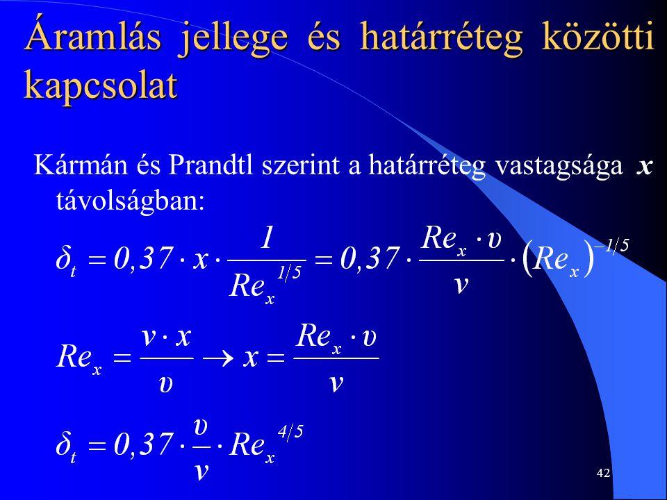 42 Kármán és Prandtl szerint a határréteg vastagsága x távolságban: Áramlás jellege és határréteg közötti kapcsolat