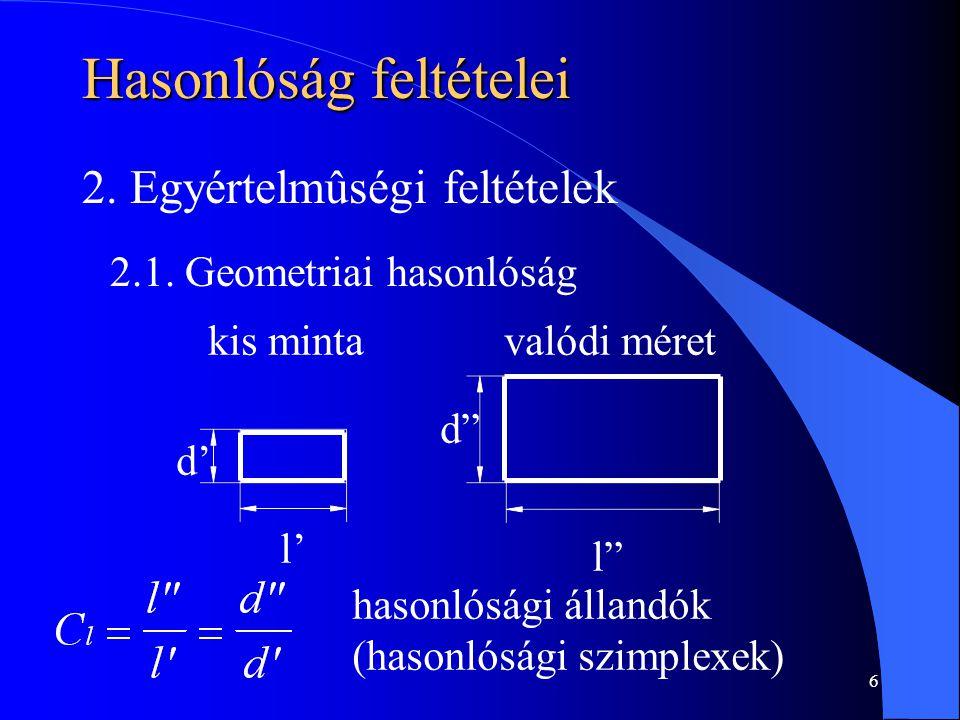 """6 Hasonlóság feltételei 2. Egyértelmûségi feltételek 2.1. Geometriai hasonlóság kis mintavalódi méret d' l' d"""" l"""" hasonlósági állandók (hasonlósági sz"""