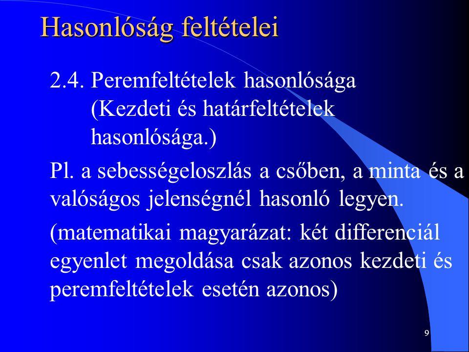 9 Hasonlóság feltételei 2.4. Peremfeltételek hasonlósága (Kezdeti és határfeltételek hasonlósága.) Pl. a sebességeloszlás a csőben, a minta és a valós