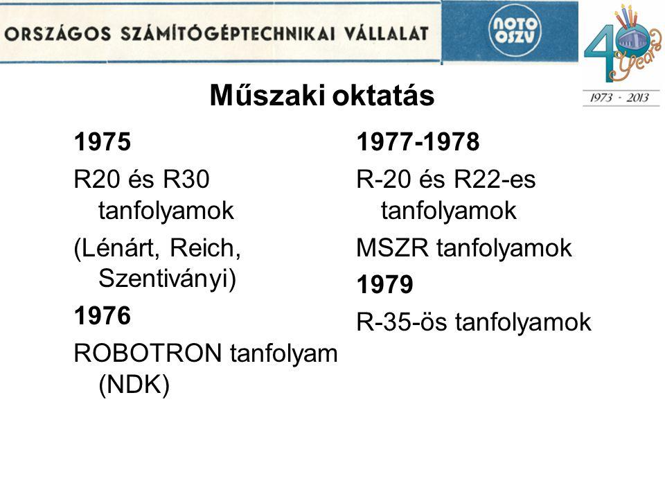 Műszaki oktatás 1975 R20 és R30 tanfolyamok (Lénárt, Reich, Szentiványi) 1976 ROBOTRON tanfolyam (NDK) 1977-1978 R-20 és R22-es tanfolyamok MSZR tanfolyamok 1979 R-35-ös tanfolyamok