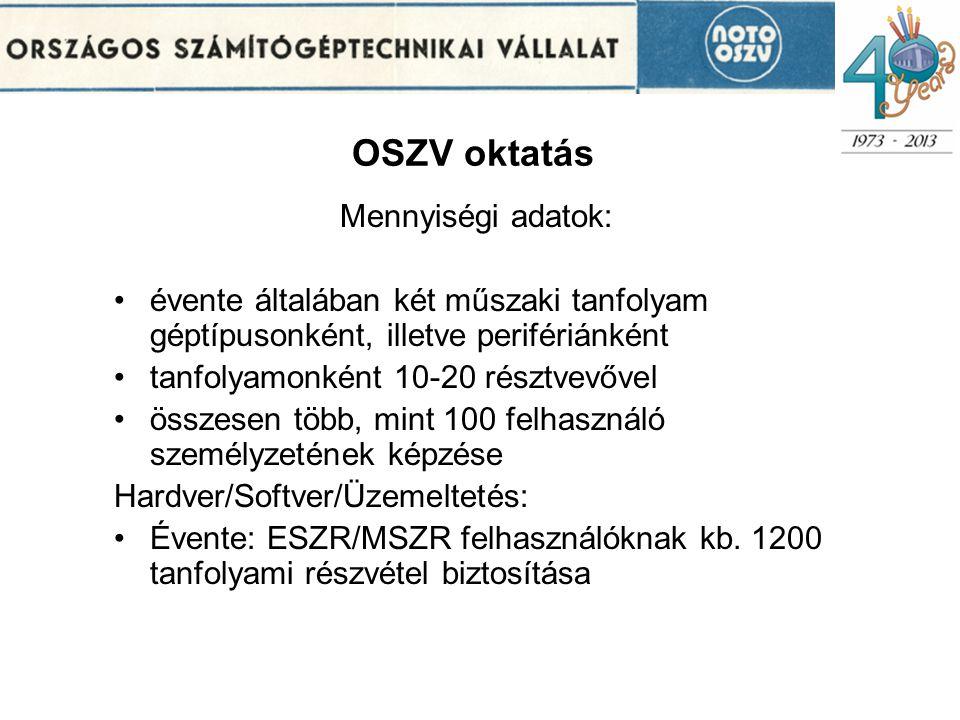 OSZV oktatás Mennyiségi adatok: •évente általában két műszaki tanfolyam géptípusonként, illetve perifériánként •tanfolyamonként 10-20 résztvevővel •összesen több, mint 100 felhasználó személyzetének képzése Hardver/Softver/Üzemeltetés: •Évente: ESZR/MSZR felhasználóknak kb.