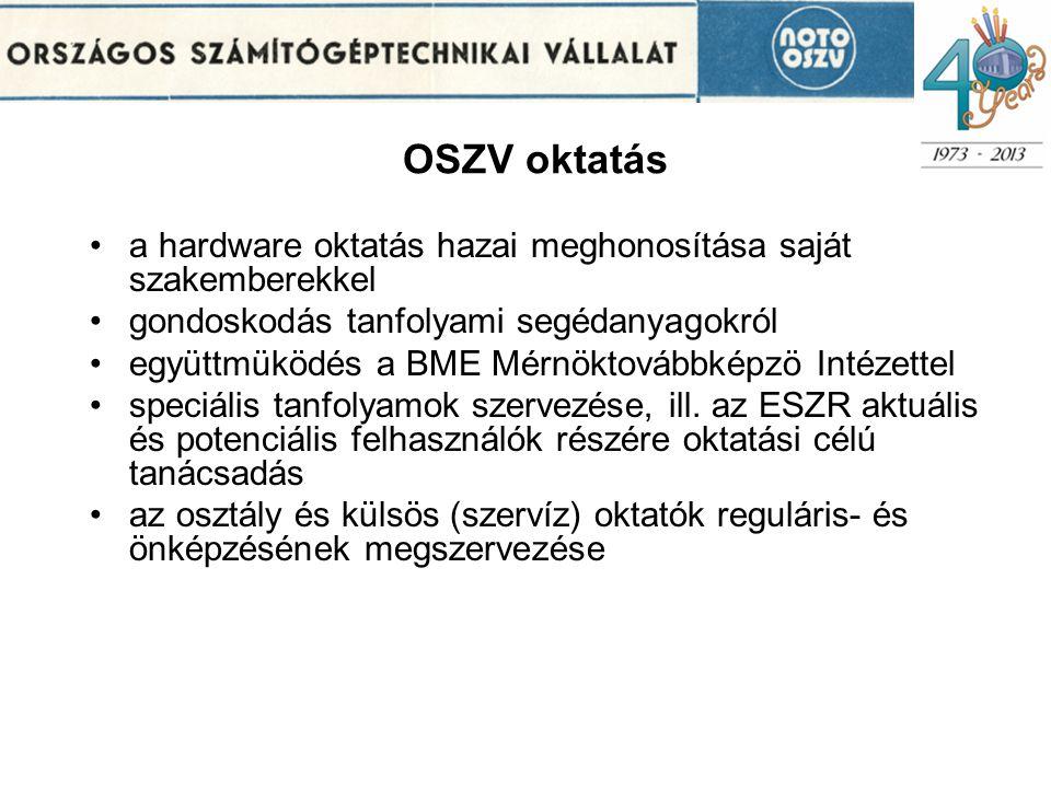OSZV oktatás •a hardware oktatás hazai meghonosítása saját szakemberekkel •gondoskodás tanfolyami segédanyagokról •együttmüködés a BME Mérnöktovábbképzö Intézettel •speciális tanfolyamok szervezése, ill.