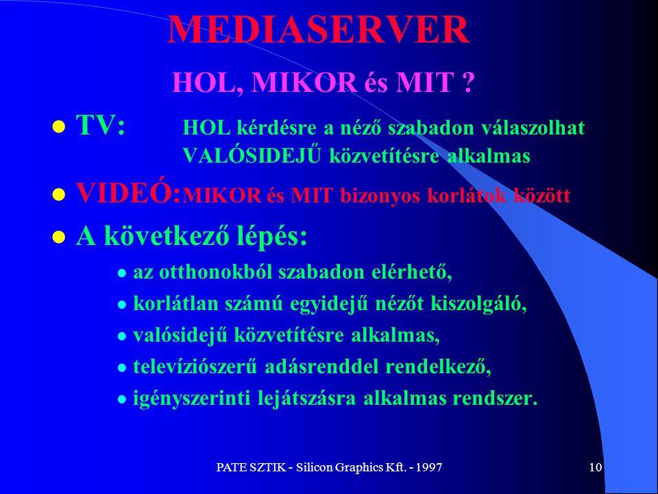 PATE SZTIK - Silicon Graphics Kft. - 199710 MEDIASERVER HOL, MIKOR és MIT ? l TV: HOL kérdésre a néző szabadon válaszolhat VALÓSIDEJŰ közvetítésre alk