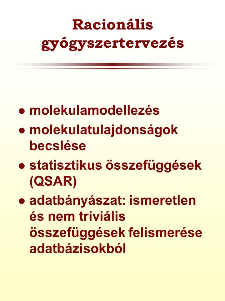 Racionális gyógyszertervezés  molekulamodellezés  molekulatulajdonságok becslése  statisztikus összefüggések (QSAR)  adatbányászat: ismeretlen és nem triviális összefüggések felismerése adatbázisokból