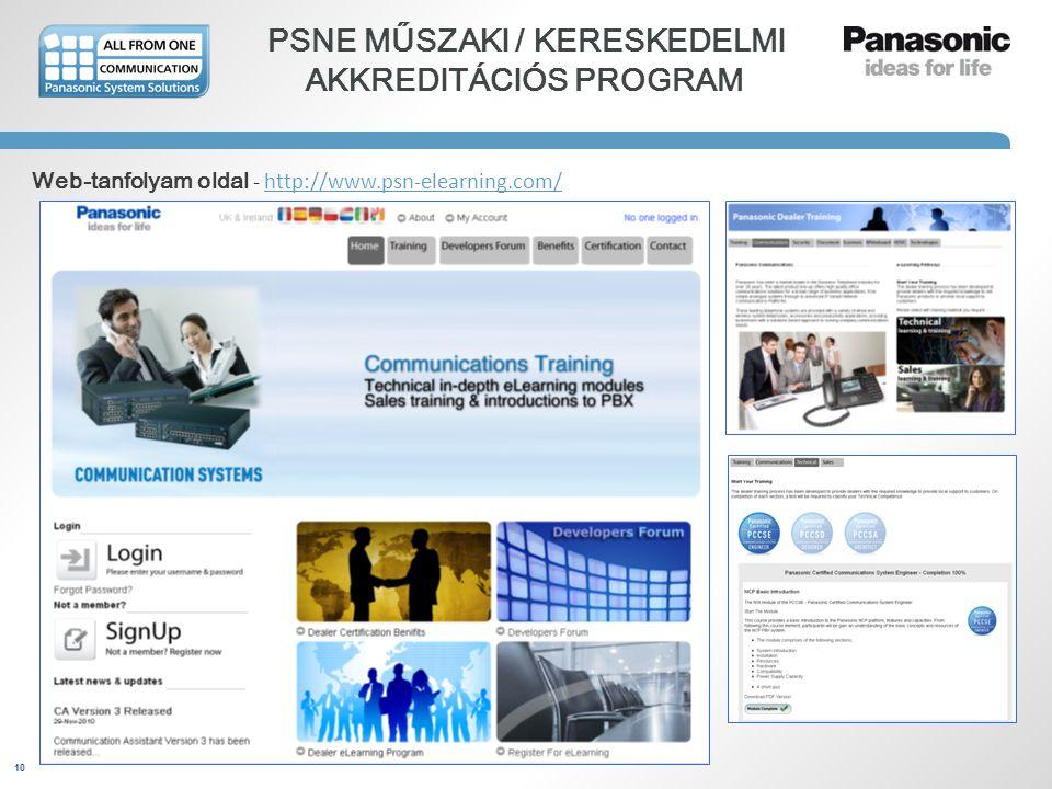 10 PSNE MŰSZAKI / KERESKEDELMI AKKREDITÁCIÓS PROGRAM Web-tanfolyam oldal - http://www.psn-elearning.com/http://www.psn-elearning.com/