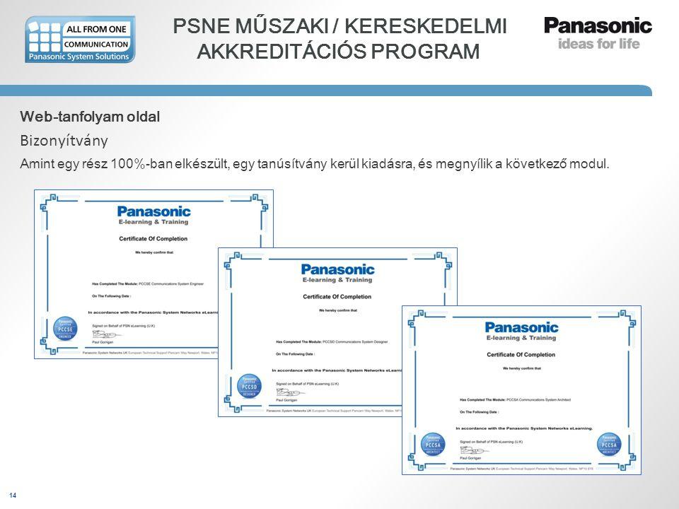 14 PSNE MŰSZAKI / KERESKEDELMI AKKREDITÁCIÓS PROGRAM Web-tanfolyam oldal Bizonyítvány Amint egy rész 100%-ban elkészült, egy tanúsítvány kerül kiadásr