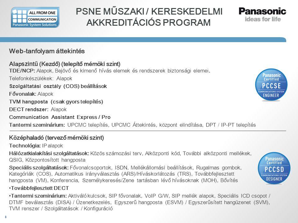 8 PSNE MŰSZAKI / KERESKEDELMI AKKREDITÁCIÓS PROGRAM Web-tanfolyam áttekintés Alap szintű (Kezdő) (telepítő mérnök i szint) TDE/NCP: Alapok, Bejövő és