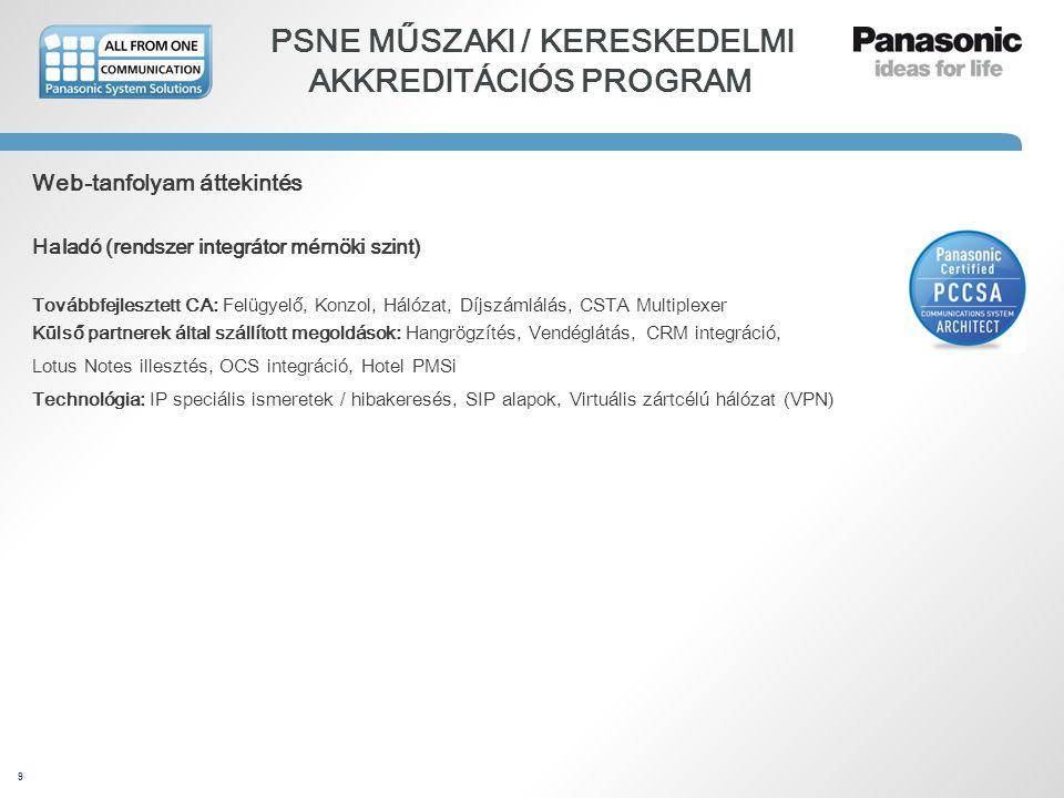 9 PSNE MŰSZAKI / KERESKEDELMI AKKREDITÁCIÓS PROGRAM Web-tanfolyam áttekintés Haladó (rendszer integrátor mérnöki szint) Továbbfejlesztett CA: Felügyel
