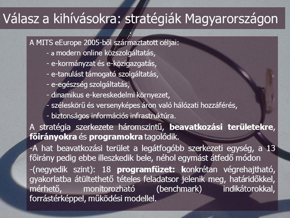 7.) NITS (Nemzeti Információs Társadalom Stratégia) - előnye: jelentős erőforrás és szervezet áll mögötte - hátránya: kész, tőle független költségvetési keretek MITS (Magyar Információs Társadalom Stratégia) - a célok prioritásának meghatározása elsődleges fontosságú; elsősorban a gazdaságélénkítő és a tudatformáló céloknak kell elsőbbséget adni - a központi koordináció elengedhetetlen meghatározott feladatok esetében (pl.