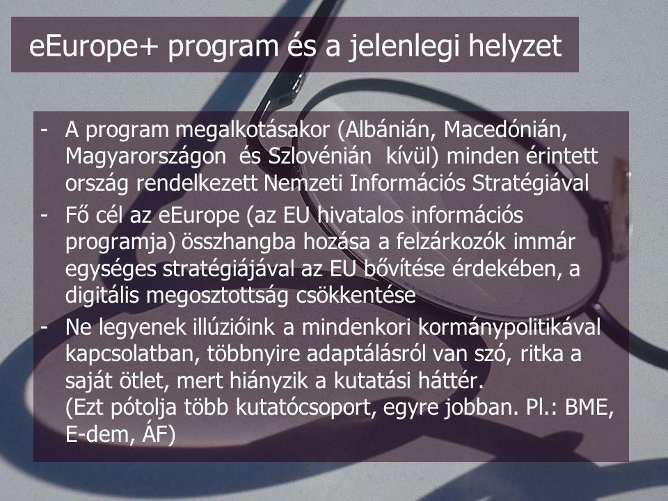 A MITS eEurope 2005-ből származtatott céljai: - a modern online közszolgáltatás, - e-kormányzat és e-közigazgatás, - e-tanulást támogató szolgáltatás, - e-egészség szolgáltatás, - dinamikus e-kereskedelmi környezet, - széleskörű és versenyképes áron való hálózati hozzáférés, - biztonságos információs infrastruktúra.