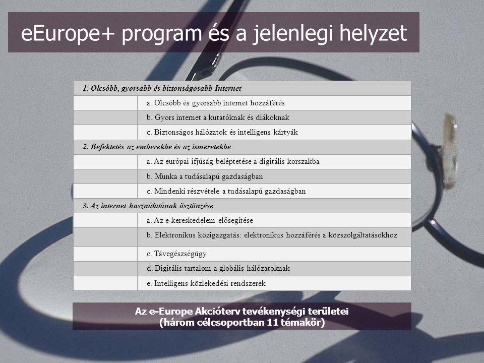 -A program megalkotásakor (Albánián, Macedónián, Magyarországon és Szlovénián kívül) minden érintett ország rendelkezett Nemzeti Információs Stratégiával -Fő cél az eEurope (az EU hivatalos információs programja) összhangba hozása a felzárkozók immár egységes stratégiájával az EU bővítése érdekében, a digitális megosztottság csökkentése -Ne legyenek illúzióink a mindenkori kormánypolitikával kapcsolatban, többnyire adaptálásról van szó, ritka a saját ötlet, mert hiányzik a kutatási háttér.