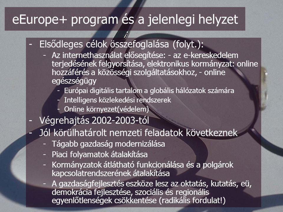 -Elsődleges célok összefoglalása (folyt.): -Az internethasználat elősegítése: - az e-kereskedelem terjedésének felgyorsítása, elektronikus kormányzat: online hozzáférés a közösségi szolgáltatásokhoz, - online egészségügy -Európai digitális tartalom a globális hálózatok számára -Intelligens közlekedési rendszerek -Online környezet(védelem) -Végrehajtás 2002-2003-tól -Jól körülhatárolt nemzeti feladatok következnek -Tágabb gazdaság modernizálása -Piaci folyamatok átalakítása -Kormányzatok átlátható funkcionálása és a polgárok kapcsolatrendszerének átalakítása -A gazdaságfejlesztés eszköze lesz az oktatás, kutatás, eü, demokrácia fejlesztése, szociális és regionális egyenlőtlenségek csökkentése (radikális fordulat!) eEurope+ program és a jelenlegi helyzet
