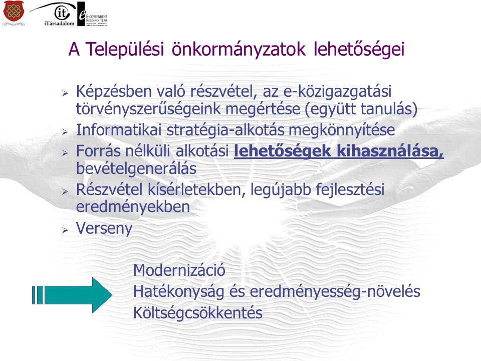  Képzésben való részvétel, az e-közigazgatási törvényszerűségeink megértése (együtt tanulás)  Informatikai stratégia-alkotás megkönnyítése  Forrás nélküli alkotási lehetőségek kihasználása, bevételgenerálás  Részvétel kísérletekben, legújabb fejlesztési eredményekben  Verseny Modernizáció Hatékonyság és eredményesség-növelés Költségcsökkentés A Települési önkormányzatok lehetőségei