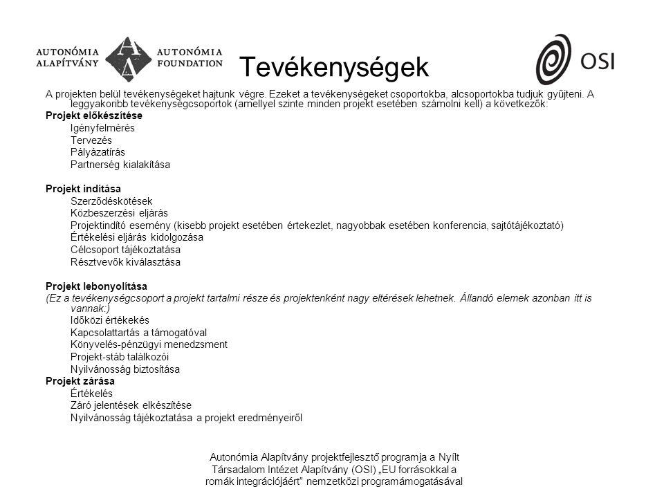 """Autonómia Alapítvány projektfejlesztő programja a Nyílt Társadalom Intézet Alapítvány (OSI) """"EU forrásokkal a romák integrációjáért nemzetközi programámogatásával Tevékenységek A projekten belül tevékenységeket hajtunk végre."""