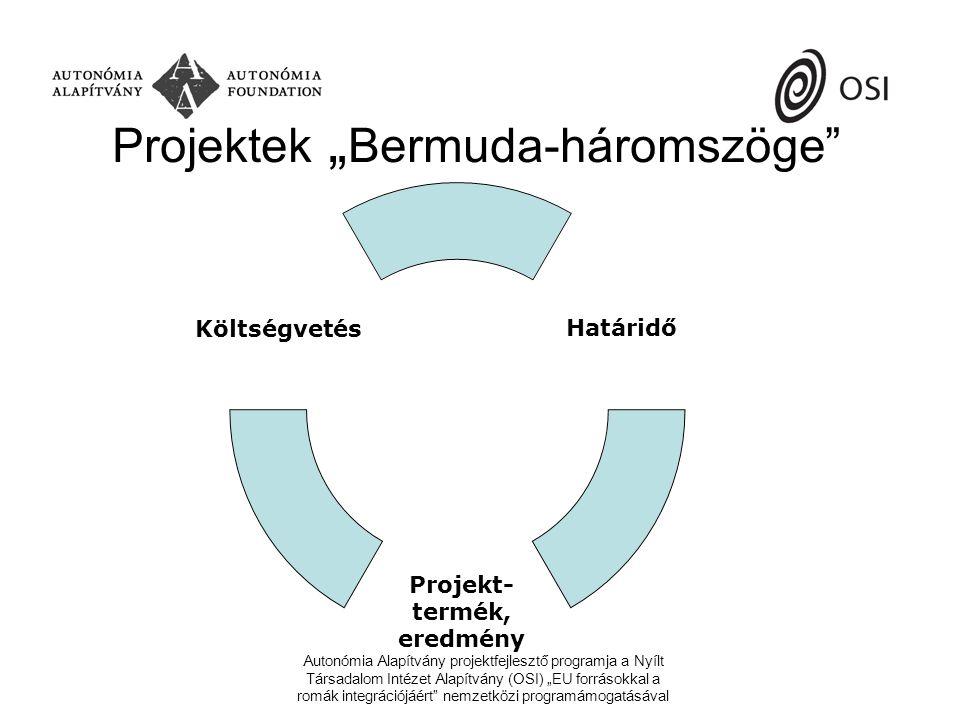 """Autonómia Alapítvány projektfejlesztő programja a Nyílt Társadalom Intézet Alapítvány (OSI) """"EU forrásokkal a romák integrációjáért nemzetközi programámogatásával Projektek """" Bermuda-háromszöge Határidő Projekt- termék, eredmény Költségvetés"""