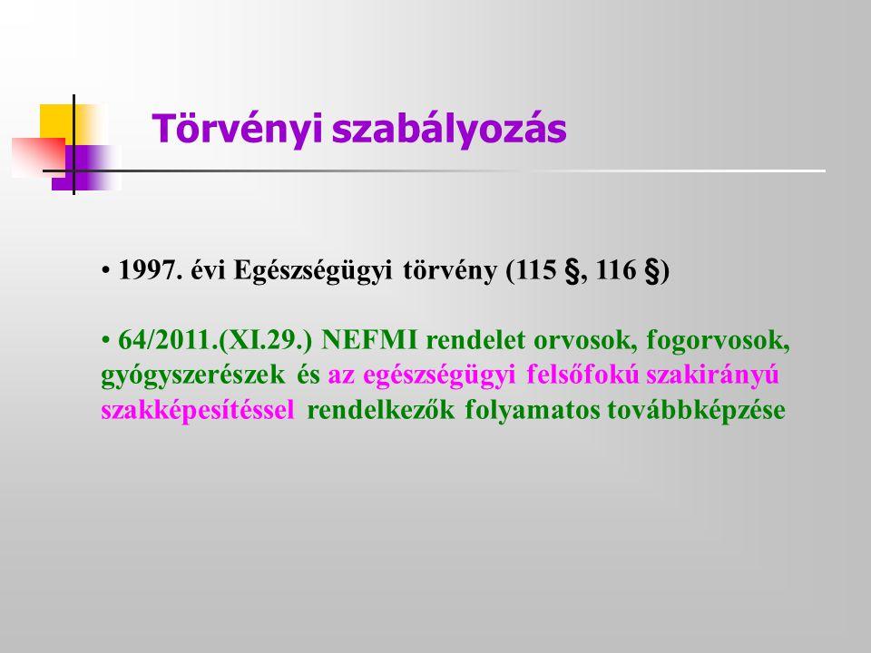 Törvényi szabályozás • 1997. évi Egészségügyi törvény (115 §, 116 §) • 64/2011.(XI.29.) NEFMI rendelet orvosok, fogorvosok, gyógyszerészek és az egész