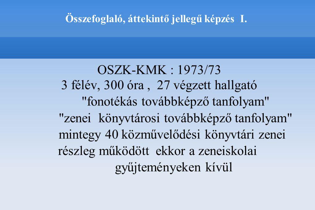 OSZK-KMK : 1973/73 3 félév, 300 óra, 27 végzett hallgató