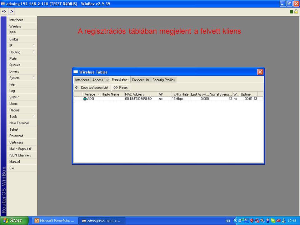 A regisztrációs táblában megjelent a felvett kliens