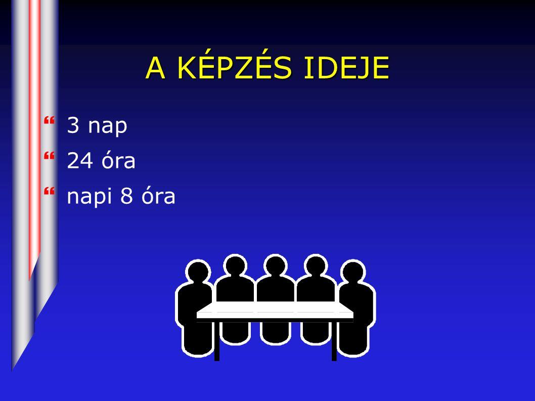 A KÉPZÉS IDEJE }3 nap }24 óra }napi 8 óra