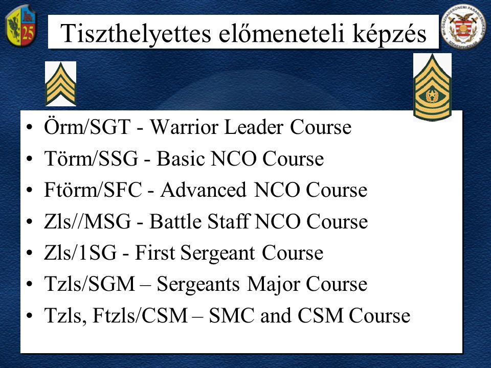 Tiszthelyettes előmeneteli képzés •Örm/SGT - Warrior Leader Course •Törm/SSG - Basic NCO Course •Ftörm/SFC - Advanced NCO Course •Zls//MSG - Battle St