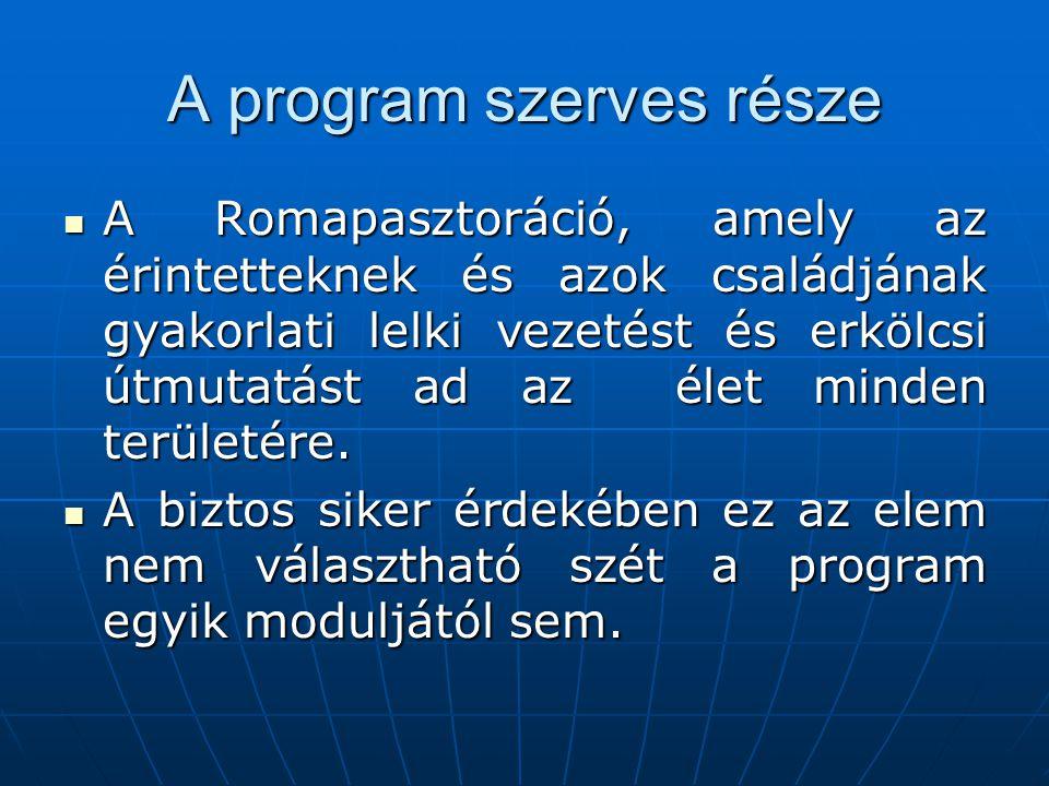 A program szerves része  A Romapasztoráció, amely az érintetteknek és azok családjának gyakorlati lelki vezetést és erkölcsi útmutatást ad az élet minden területére.