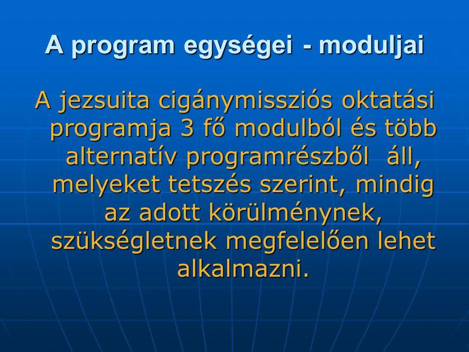 A program egységei - moduljai A jezsuita cigánymissziós oktatási programja 3 fő modulból és több alternatív programrészből áll, melyeket tetszés szerint, mindig az adott körülménynek, szükségletnek megfelelően lehet alkalmazni.