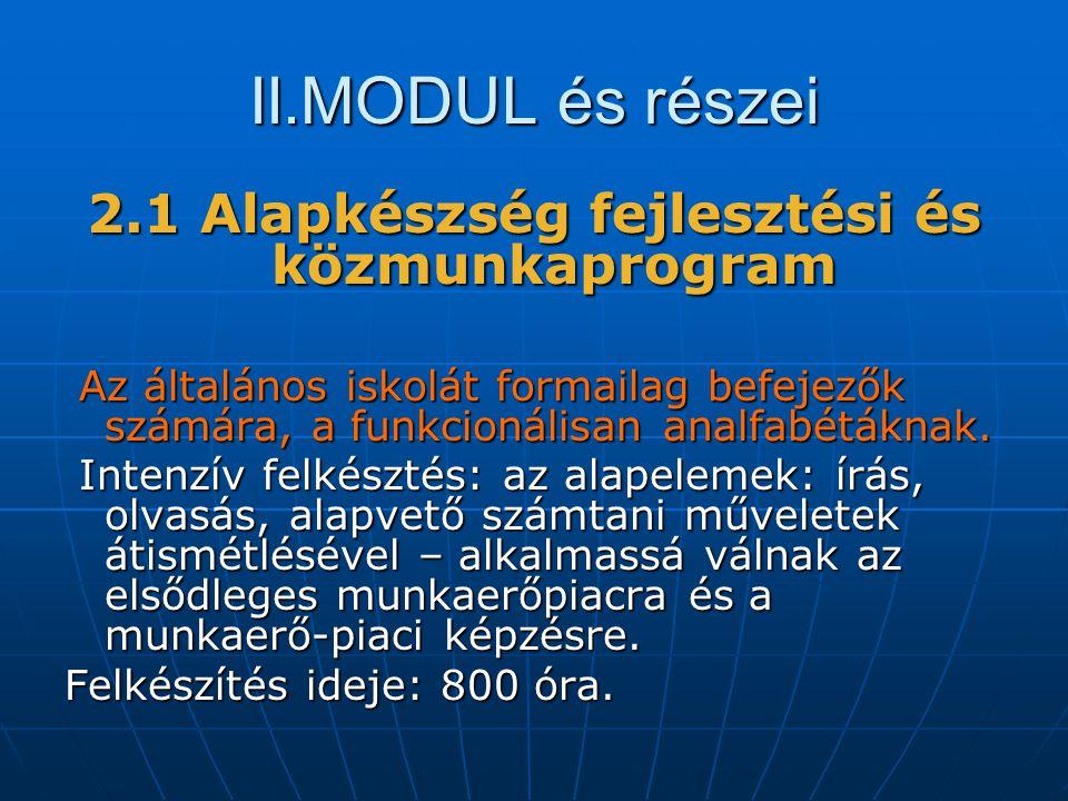 II.MODUL és részei 2.1 Alapkészség fejlesztési és közmunkaprogram Az általános iskolát formailag befejezők számára, a funkcionálisan analfabétáknak.