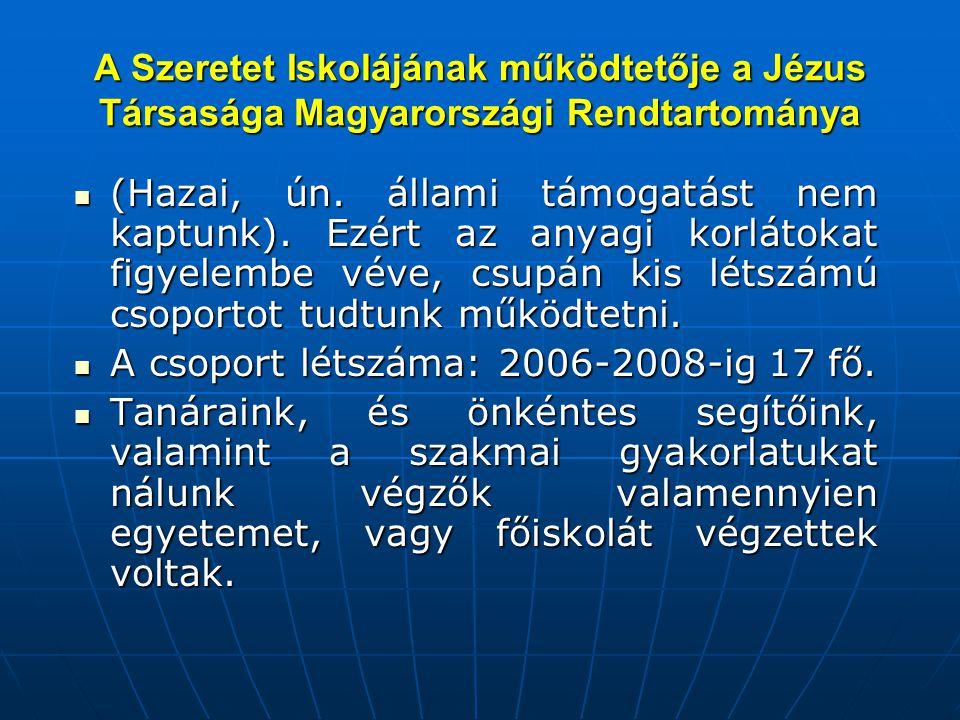 A Szeretet Iskolájának működtetője a Jézus Társasága Magyarországi Rendtartománya  (Hazai, ún. állami támogatást nem kaptunk). Ezért az anyagi korlát