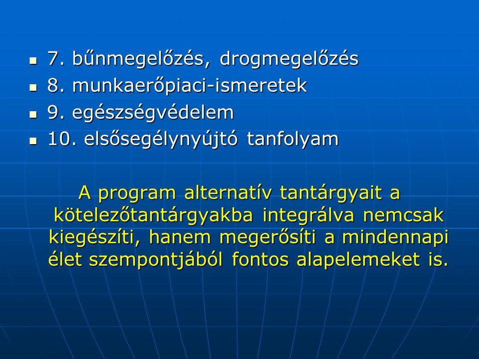  7. bűnmegelőzés, drogmegelőzés  8. munkaerőpiaci-ismeretek  9. egészségvédelem  10. elsősegélynyújtó tanfolyam A program alternatív tantárgyait a