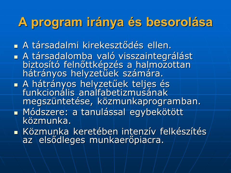 A program iránya és besorolása  A társadalmi kirekesztődés ellen.  A társadalomba való visszaintegrálást biztosító felnőttképzés a halmozottan hátrá