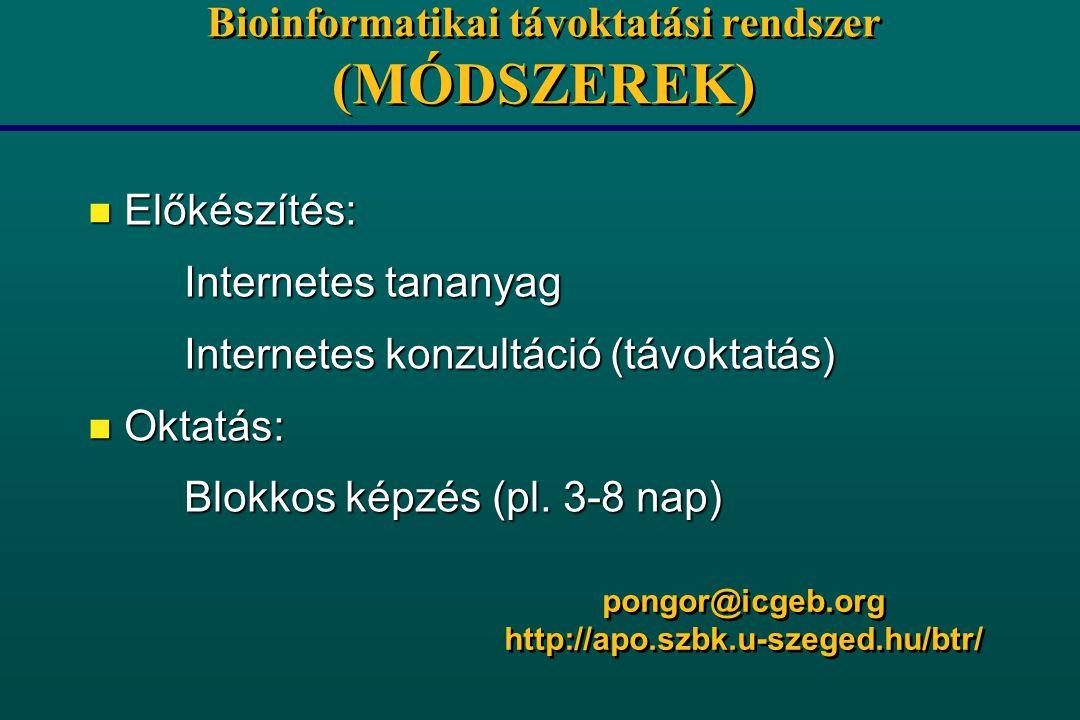 Bioinformatikai távoktatási rendszer (MÓDSZEREK) n Előkészítés: Internetes tananyag Internetes konzultáció (távoktatás) n Oktatás: Blokkos képzés (pl.