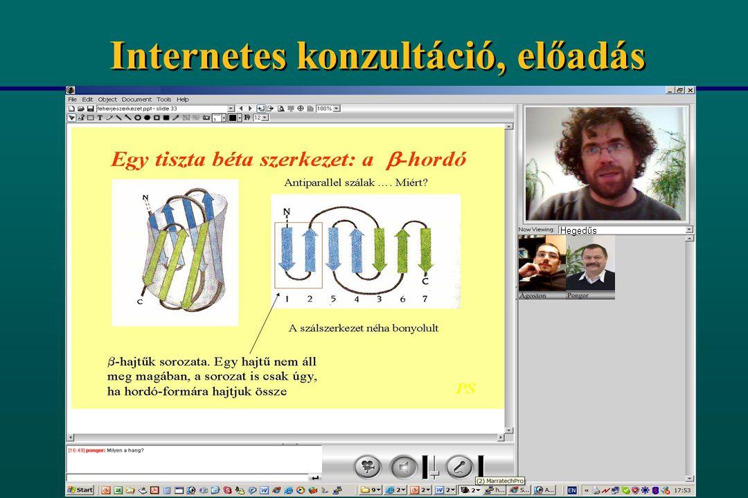 Bioinformatikai távoktatási rendszer (ESZKÖZÖK) n Személyi számítógép (PC) n Internet kapcsolat n Video-kamera, kivetítő n Ingyenes szoftver (GNU) pongor@icgeb.org http://apo.szbk.u-szeged.hu/btr/