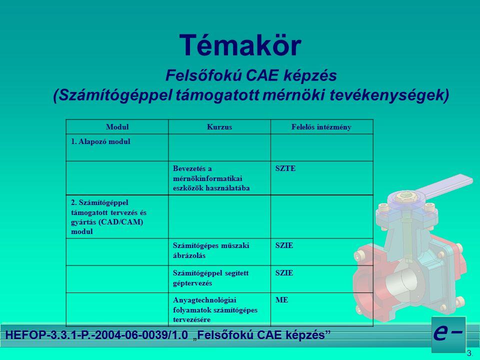 """3. e- HEFOP-3.3.1-P.-2004-06-0039/1.0 """"Felsőfokú CAE képzés"""" Témakör Felsőfokú CAE képzés (Számítógéppel támogatott mérnöki tevékenységek) ModulKurzus"""