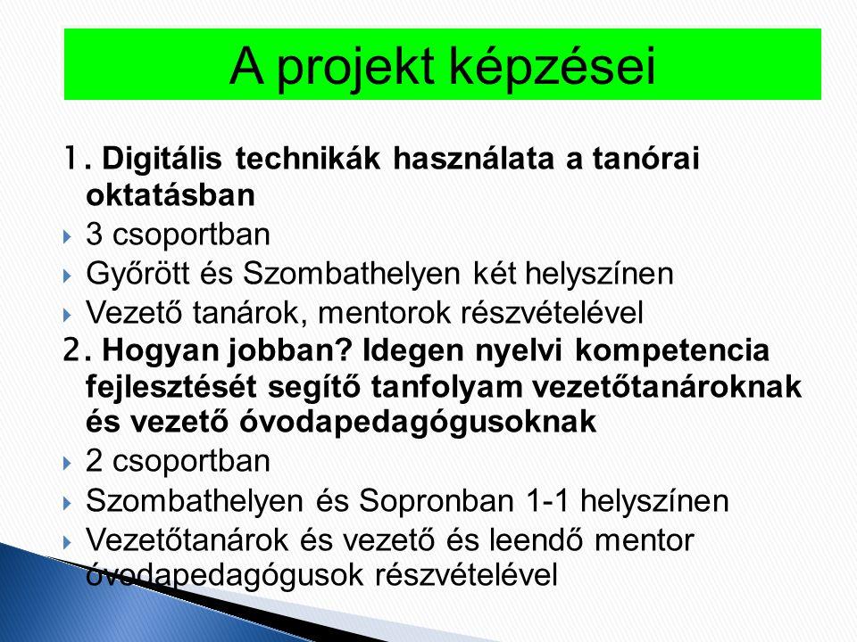 1. Digitális technikák használata a tanórai oktatásban  3 csoportban  Győrött és Szombathelyen két helyszínen  Vezető tanárok, mentorok részvételév