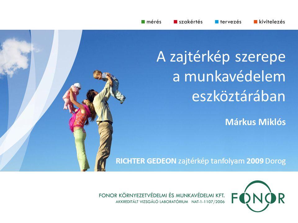 A zajtérkép szerepe a munkavédelem eszköztárában Márkus Miklós RICHTER GEDEON zajtérkép tanfolyam 2009 Dorog