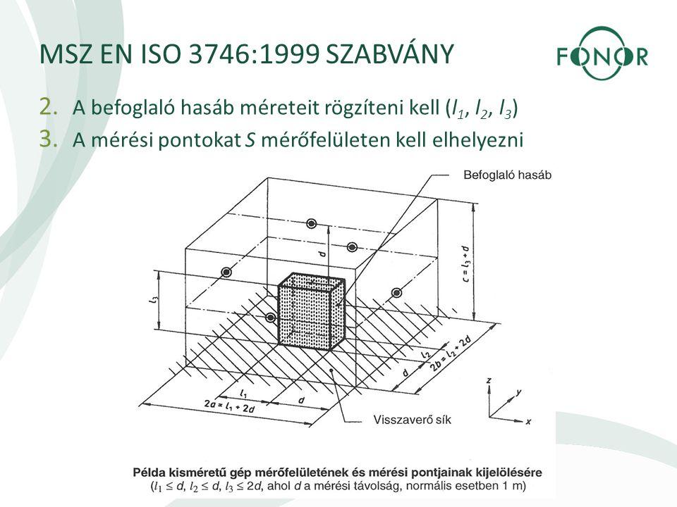 MSZ EN ISO 3746:1999 SZABVÁNY 2.A befoglaló hasáb méreteit rögzíteni kell (l 1, l 2, l 3 ) 3.