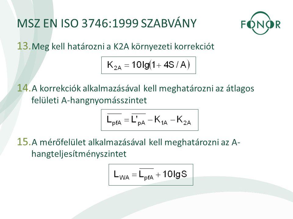 MSZ EN ISO 3746:1999 SZABVÁNY 13.Meg kell határozni a K2A környezeti korrekciót 14.