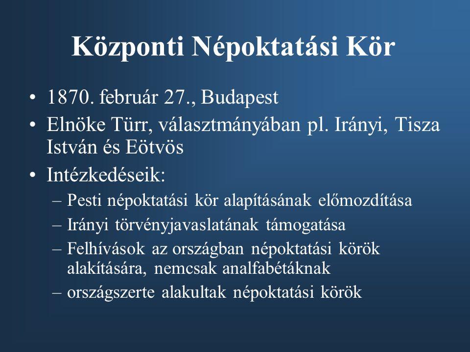 Központi Népoktatási Kör •1870. február 27., Budapest •Elnöke Türr, választmányában pl. Irányi, Tisza István és Eötvös •Intézkedéseik: –Pesti népoktat