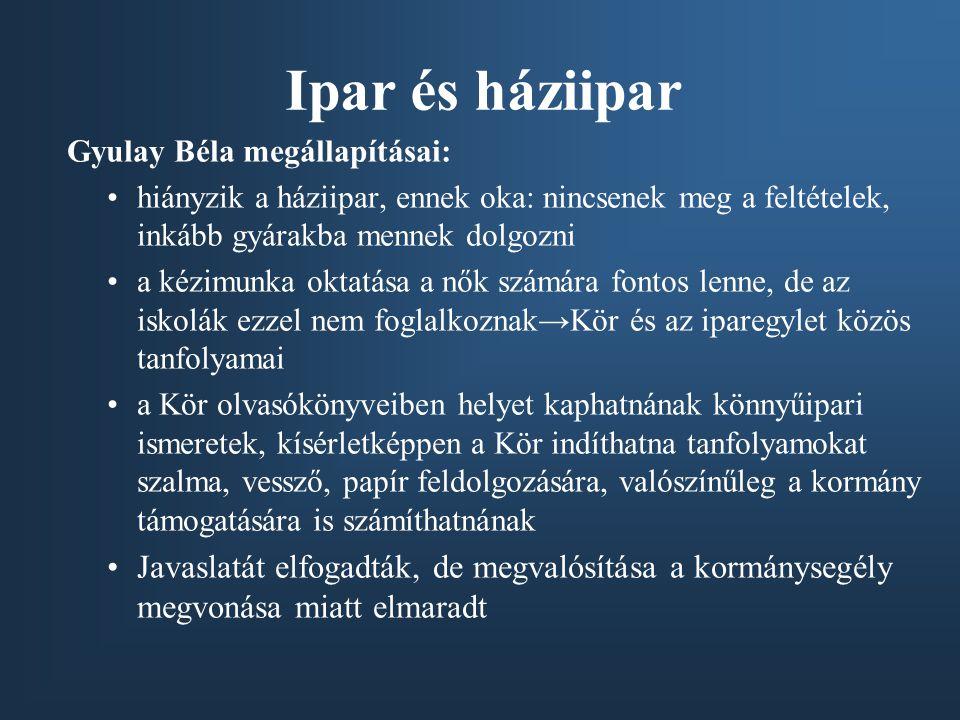Ipar és háziipar Gyulay Béla megállapításai: •hiányzik a háziipar, ennek oka: nincsenek meg a feltételek, inkább gyárakba mennek dolgozni •a kézimunka