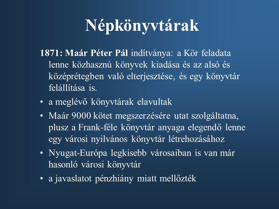 Népkönyvtárak 1871: Maár Péter Pál indítványa: a Kör feladata lenne közhasznú könyvek kiadása és az alsó és középrétegben való elterjesztése, és egy k