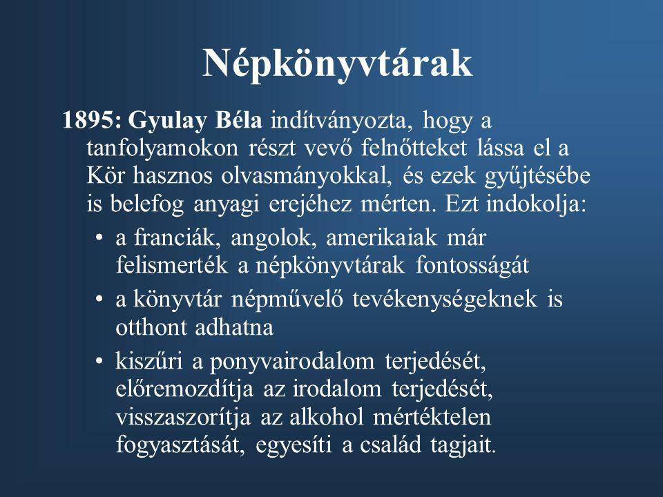 Népkönyvtárak 1895: Gyulay Béla indítványozta, hogy a tanfolyamokon részt vevő felnőtteket lássa el a Kör hasznos olvasmányokkal, és ezek gyűjtésébe i