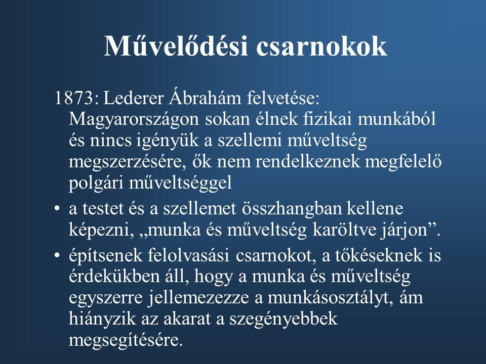 Művelődési csarnokok 1873: Lederer Ábrahám felvetése: Magyarországon sokan élnek fizikai munkából és nincs igényük a szellemi műveltség megszerzésére,