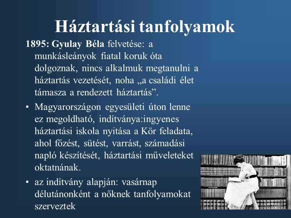 Háztartási tanfolyamok 1895: Gyulay Béla felvetése: a munkásleányok fiatal koruk óta dolgoznak, nincs alkalmuk megtanulni a háztartás vezetését, noha