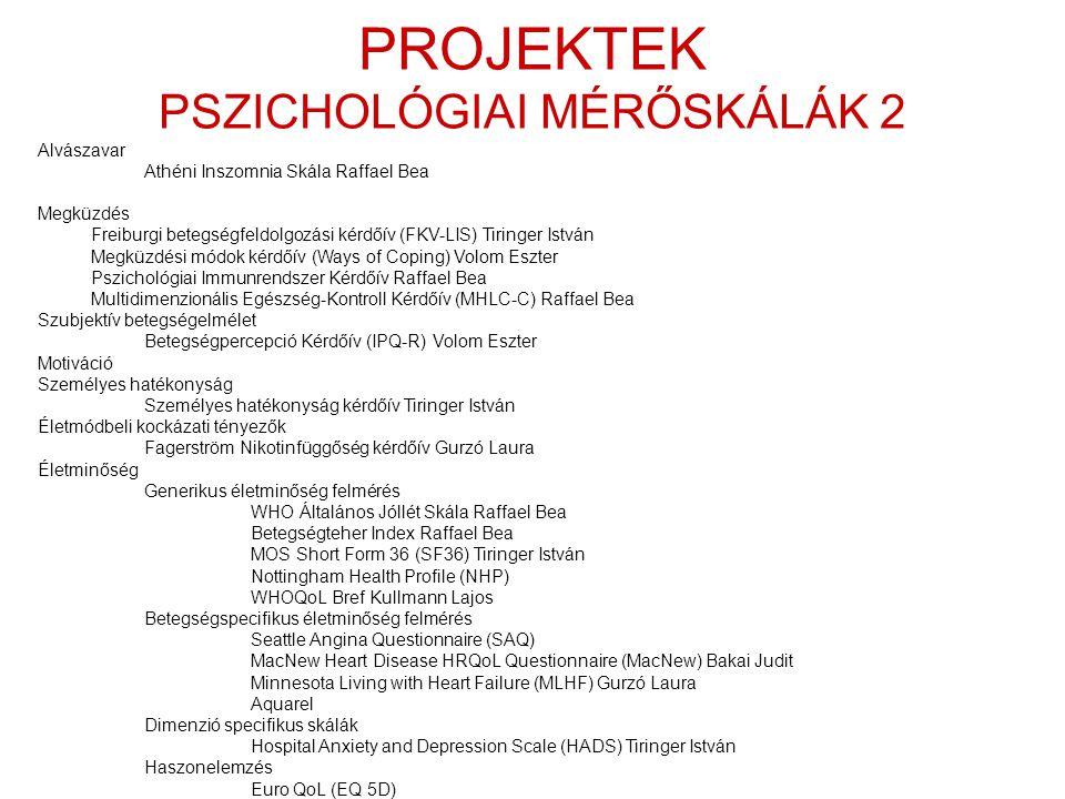 PROJEKTEK PSZICHOLÓGIAI MÉRŐSKÁLÁK 2 Alvászavar Athéni Inszomnia Skála Raffael Bea Megküzdés Freiburgi betegségfeldolgozási kérdőív (FKV-LIS) Tiringer István Megküzdési módok kérdőív (Ways of Coping) Volom Eszter Pszichológiai Immunrendszer Kérdőív Raffael Bea Multidimenzionális Egészség-Kontroll Kérdőív (MHLC-C) Raffael Bea Szubjektív betegségelmélet Betegségpercepció Kérdőív (IPQ-R) Volom Eszter Motiváció Személyes hatékonyság Személyes hatékonyság kérdőív Tiringer István Életmódbeli kockázati tényezők Fagerström Nikotinfüggőség kérdőív Gurzó Laura Életminőség Generikus életminőség felmérés WHO Általános Jóllét Skála Raffael Bea Betegségteher Index Raffael Bea MOS Short Form 36 (SF36) Tiringer István Nottingham Health Profile (NHP) WHOQoL Bref Kullmann Lajos Betegségspecifikus életminőség felmérés Seattle Angina Questionnaire (SAQ) MacNew Heart Disease HRQoL Questionnaire (MacNew) Bakai Judit Minnesota Living with Heart Failure (MLHF) Gurzó Laura Aquarel Dimenzió specifikus skálák Hospital Anxiety and Depression Scale (HADS) Tiringer István Haszonelemzés Euro QoL (EQ 5D)