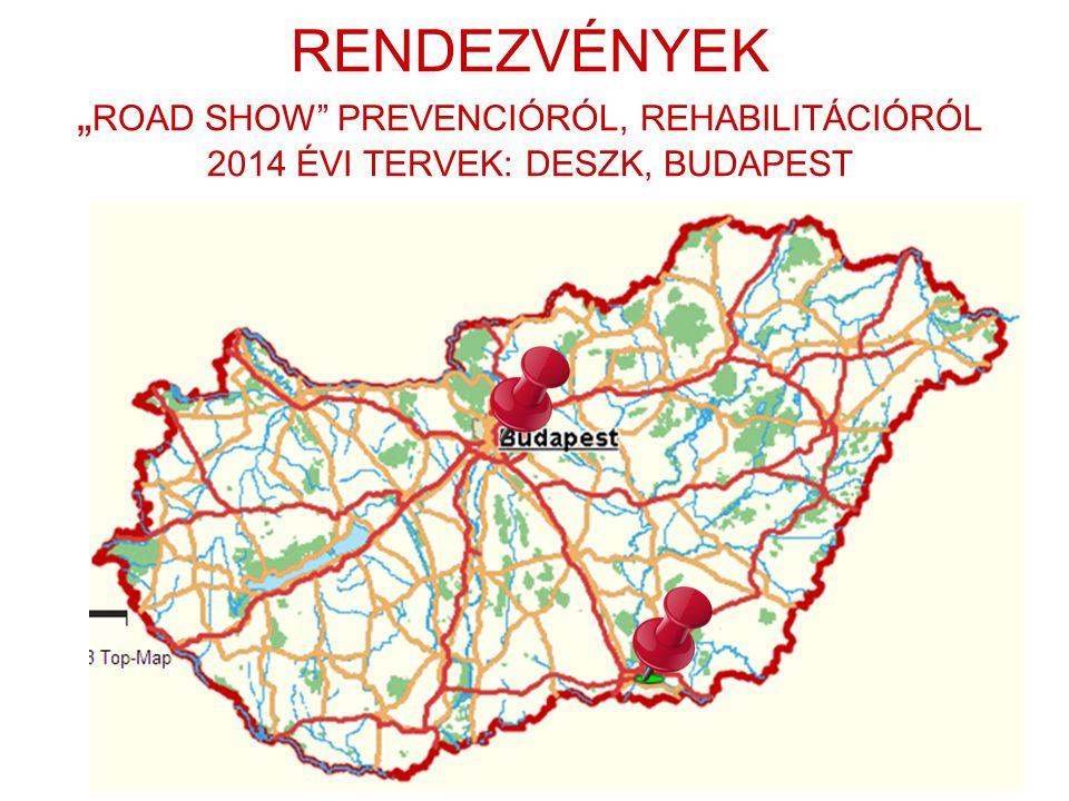 """RENDEZVÉNYEK """" ROAD SHOW"""" PREVENCIÓRÓL, REHABILITÁCIÓRÓL 2014 ÉVI TERVEK: DESZK, BUDAPEST"""